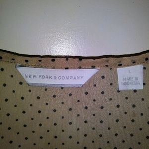 New York & Company Tops - Ny & Company   Tan Ruffle Black Polka Dot Tank